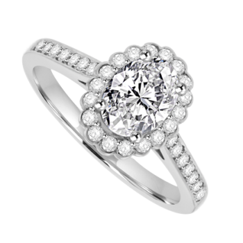 Platinum Oval Cut Solitaire Diamond Halo Ring D.61 EVS2 /.25ct