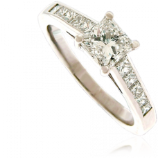 Platinum Princess cut Diamond Solitaire with Princess Shoulders