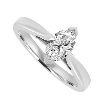 Platinum Marquise cut Diamond Solitaire Ring .47ct Engagement
