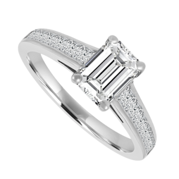 Platinum Emerald cut Diamond Solitaire Ring .76/.50ct