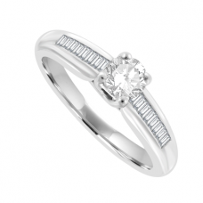 Platinum Solitaire Diamond Ring with Baguette shoulders