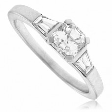 Platinum Asscher Cut Solitaire Diamond Ring with Baguettes