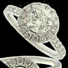 Platinum Diamond Solitaire Halo Ring