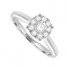 Platinum Diamond Solitaire-Illusion Cluster Ring