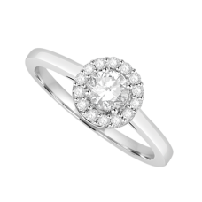 Platinum Solitaire Diamond Halo ring with plain shoulders