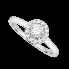 Platinum Solitaire Diamond Halo ring with plain shoulders
