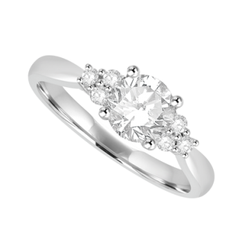 Platinum Solitaire Diamond ring with Diamond Trilogy Shoulders