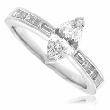 Platinum Marquise Diamond Solitaire Ring with Baguette Shoulder
