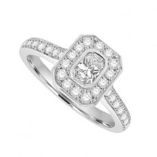 Platinum Phoenix cut Diamond Solitaire Halo Ring