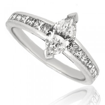 Platinum Marquise FVS1 Diamond with Princess cut Shoulders
