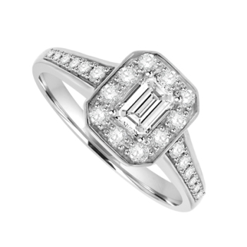 Platinum Emerald-cut Diamond Halo Ring