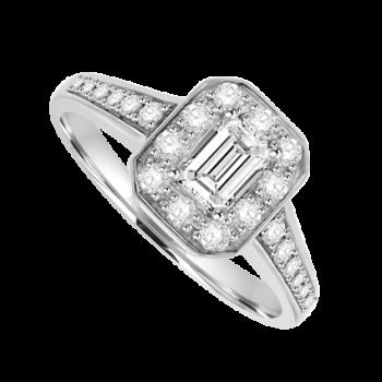 Platinum Emerald-cut Diamond Halo Ring