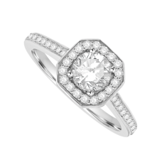 Platinum Diamond Cushioned Halo Ring