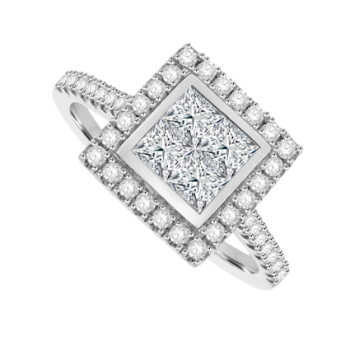Platinum 4-Stone Princess cut Diamond Cluster Halo Ring