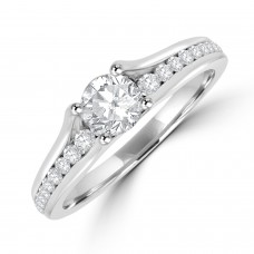 Platinum Solitaire .50ct Diamond ring with Diamond Half Hoop