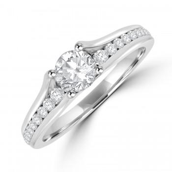 Platinum Solitaire .50ct Diamond ring with Diamond Half Hoop
