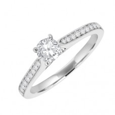 Platinum Diamond Solitaire Ring with micro claw set shoulders