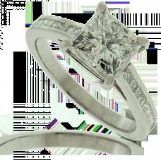 Platinum 1.51ct Princess cut Diamond Ring with set Shoulders