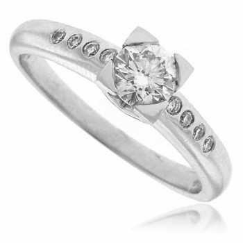Platinum Solitaire Diamond Ring with set Shoulders