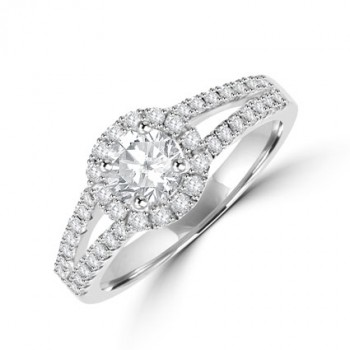 Platinum Solitaire Diamond Halo Split Ring