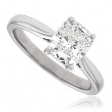 Platinum Cushion cut Solitaire Diamond Ring