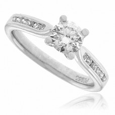 Platinum Solitaire Diamond Ring with set Shoulders D.50ct/.40ct