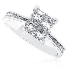 Platinum Diamond Quad Ring