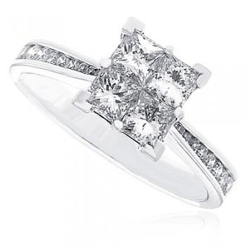 Platinum Diamond Quad Ring