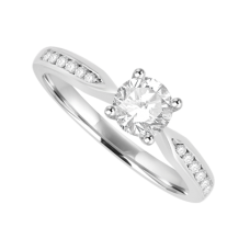 Platinum Diamond Solitaire Ring with channel set shoulders