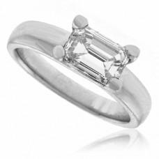 Platinum Emerald-cut Diamond Solitaire Ring