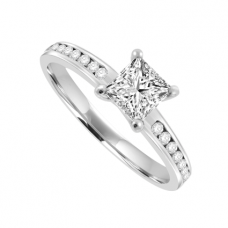 Platinum Solitaire Princess Diamond with set shoulders