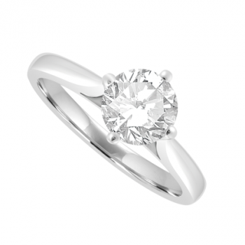 Platinum Solitaire Diamond Ring in 4-claw Compass Setting