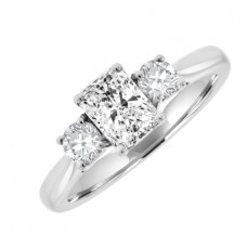 Platinum Three-stone Radiant & Brilliant Diamond Ring