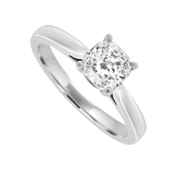 Platinum Solitaire Cushion cut Diamond Ring
