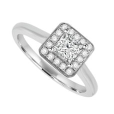Platinum Princess cut EVVS2 Diamond Halo Ring