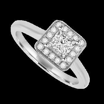 Platinum Princess cut EVVS2 Diamond Halo Ring