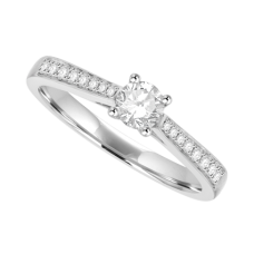 Platinum Solitaire Diamond Ring with grain shoulders Engagement