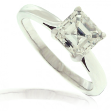 Platinum Asscher cut Diamond Solitaire Ring