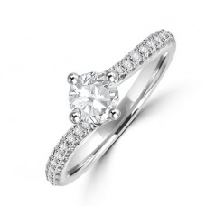 Platinum Diamond Solitaire Twist Ring
