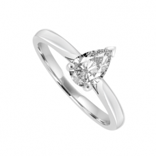 Platinum Solitaire Pear cut Diamond Ring
