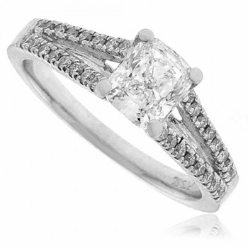 Platinum Cushion cut Diamond ring with split set shoulders