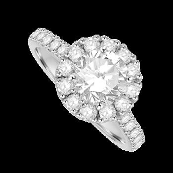 Platinum 1.00ct Solitaire Diamond Halo Ring