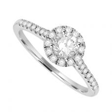 Platinum Solitaire Diamond Halo Ring