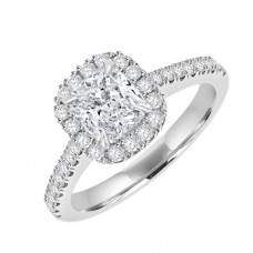 Platinum Solitaire Cushion GVS2 Diamond Halo Ring