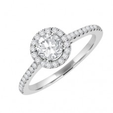 Platinum Solitaire GSi1 Diamondn Halo Ring