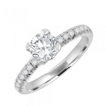 Platinum Solitaire Diamond Ring .70ct/.18sh Engagement