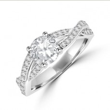 Platinum Solitaire Diamond Twist Ring