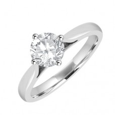 Platinum Solitaire .80ct Diamond Compass set Ring
