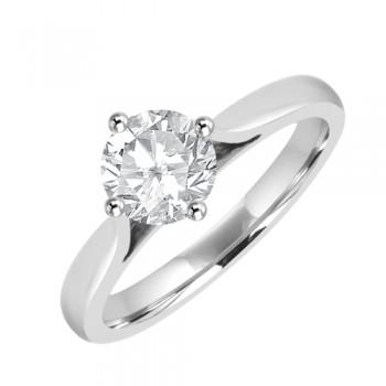 Platinum Solitaire .80ct Diamond Compass set Ring