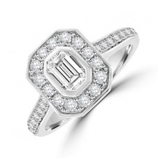Platinum Phoenix Solitaire Diamond Halo Ring